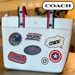 COACH Jes Tote Comic MARVEL Patches Bag